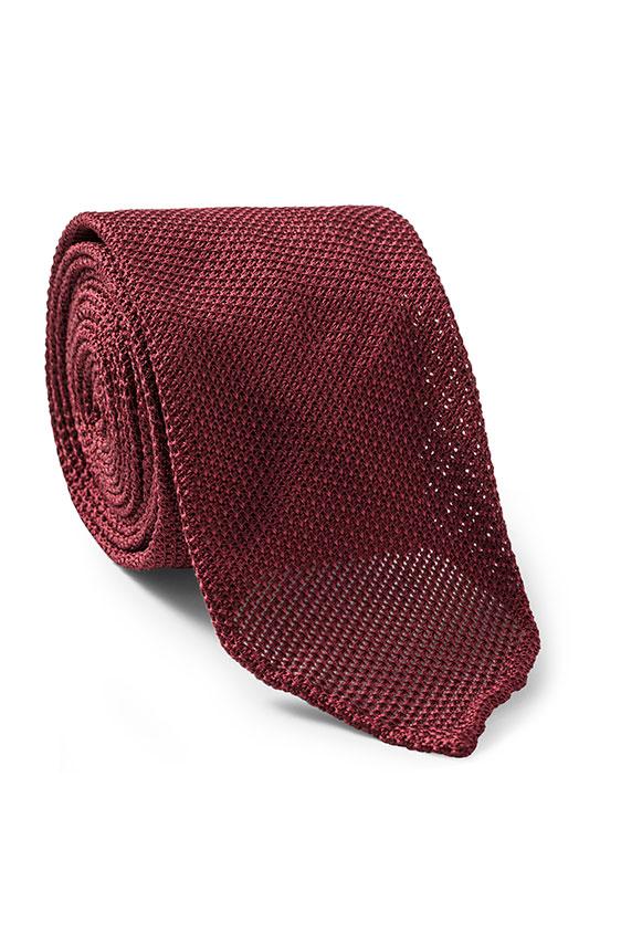 Темно-красный галстук плетеной фактуры