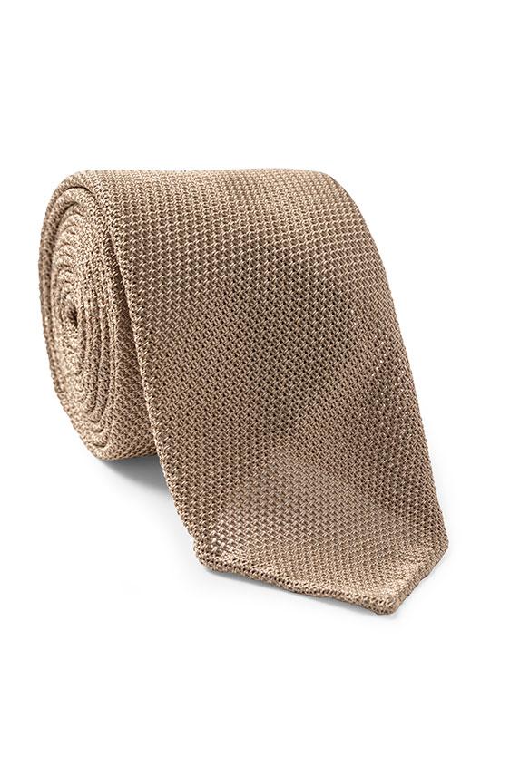 Бежевый галстук плетеной фактуры
