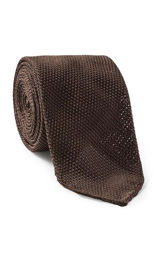 Темно-коричневый галстук плетеной фактуры
