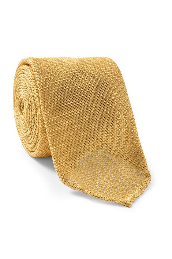 Жёлтый галстук плетеной фактуры