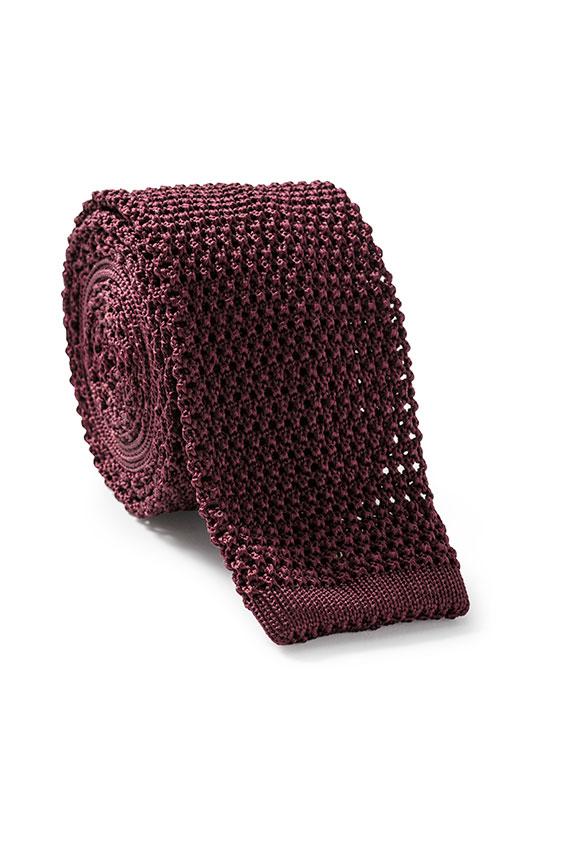 Темно-красный галстук вязаной фактуры