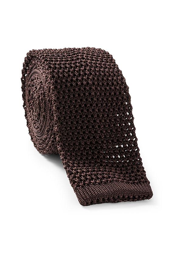 Темно-коричневый галстук вязаной фактуры