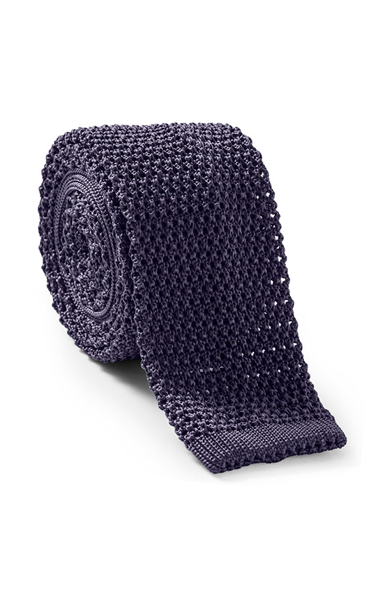 Темно-фиолетовый галстук вязаной фактуры