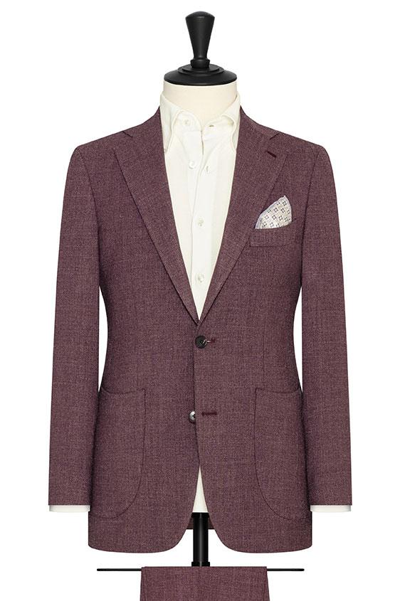 Бордовый костюм из шерсти с шёлком