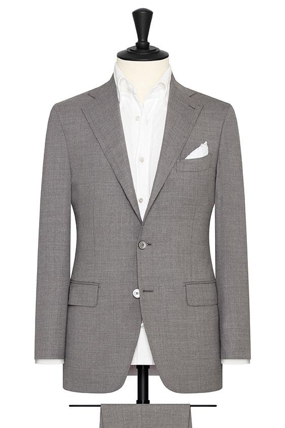 Серый костюм из шерсти с шёлком