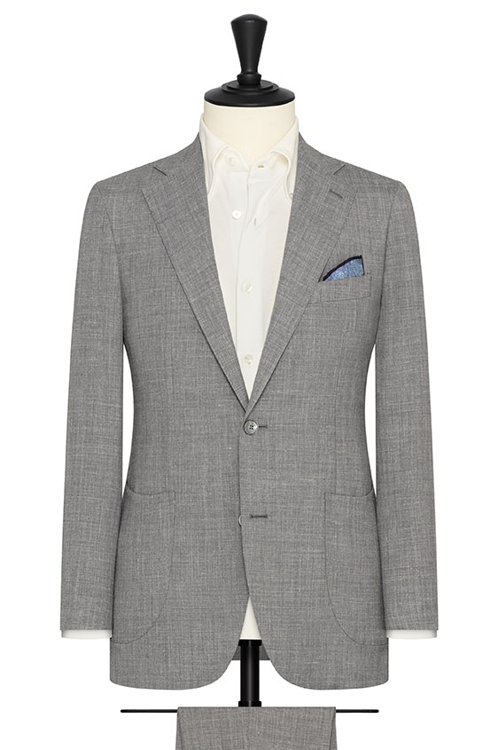 Серый костюм из шерсти со льном