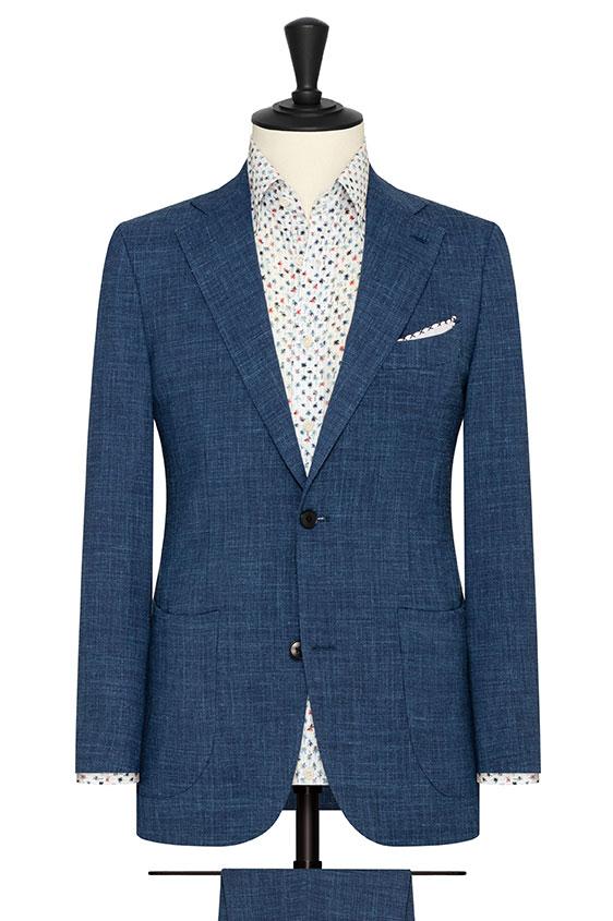 Синий костюм с эффектом стрейч