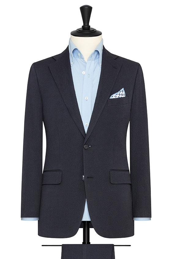 Синий костюм из хлопка сирсакер