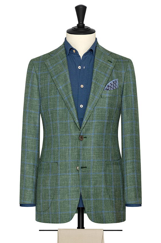 Зеленый пиджак в голубую клетку
