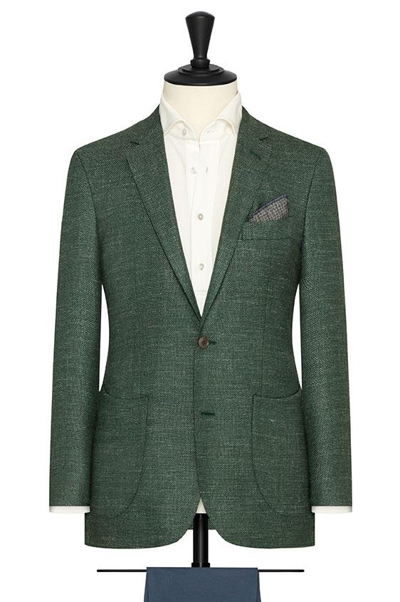 Зеленый пиджак плетеной фактуры из шерсти с шёлком