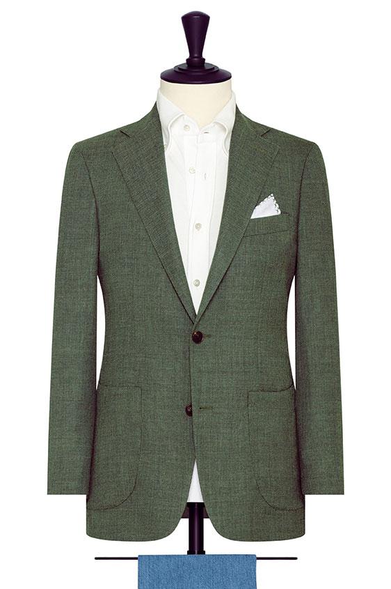 Зеленый пиджак плетеной фактуры