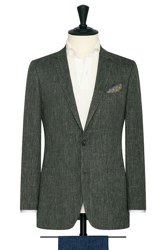 Темно-зеленый пиджак в елочку