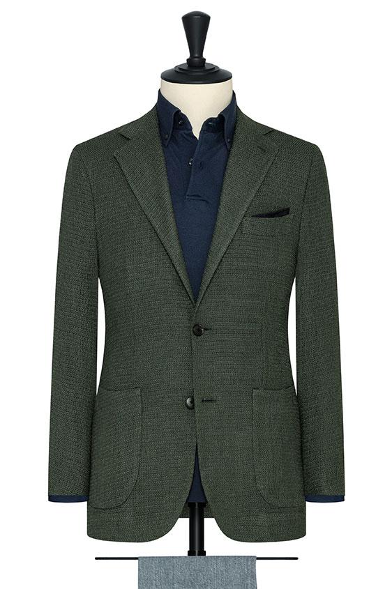 Зеленый пиджак вязаной фактуры