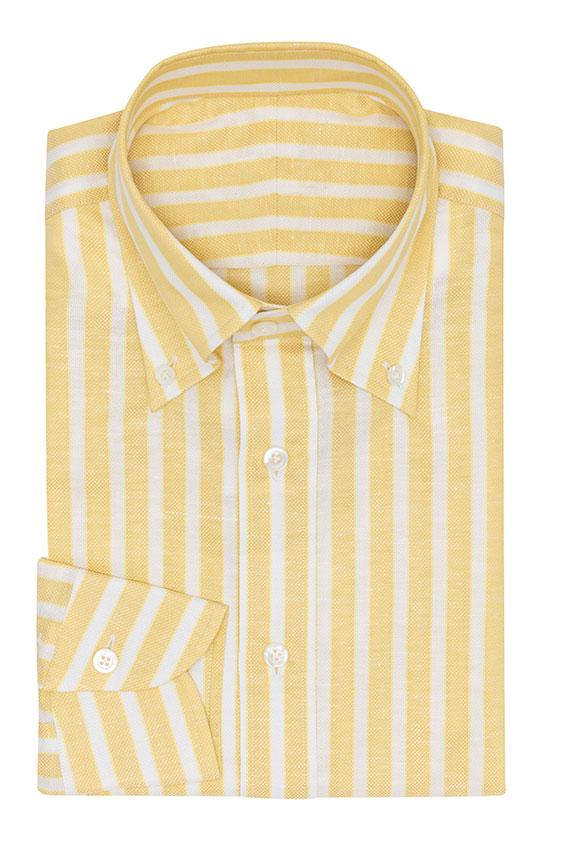 Желтая сорочка в белую полоску