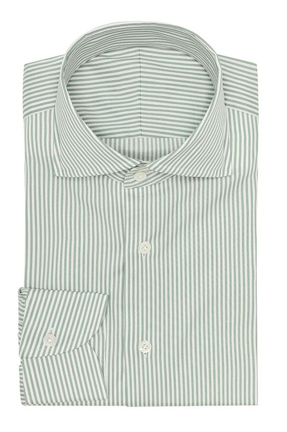 Зеленая сорочка в белую полоску