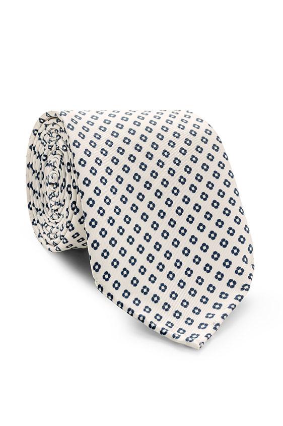 Белый галстук в мелкий рисунок