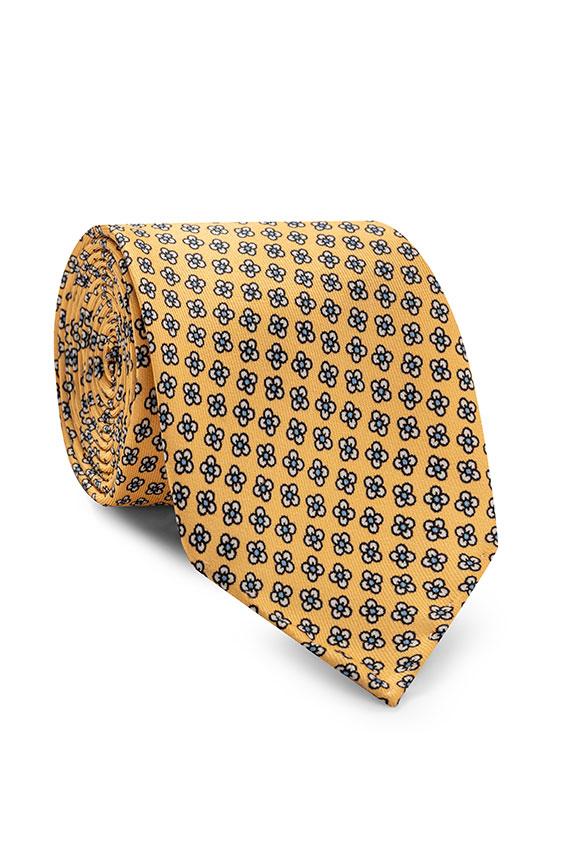 Жёлтый галстук с цветочным принтом