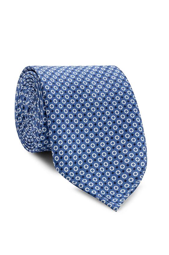 Синий галстук в мелкий рисунок