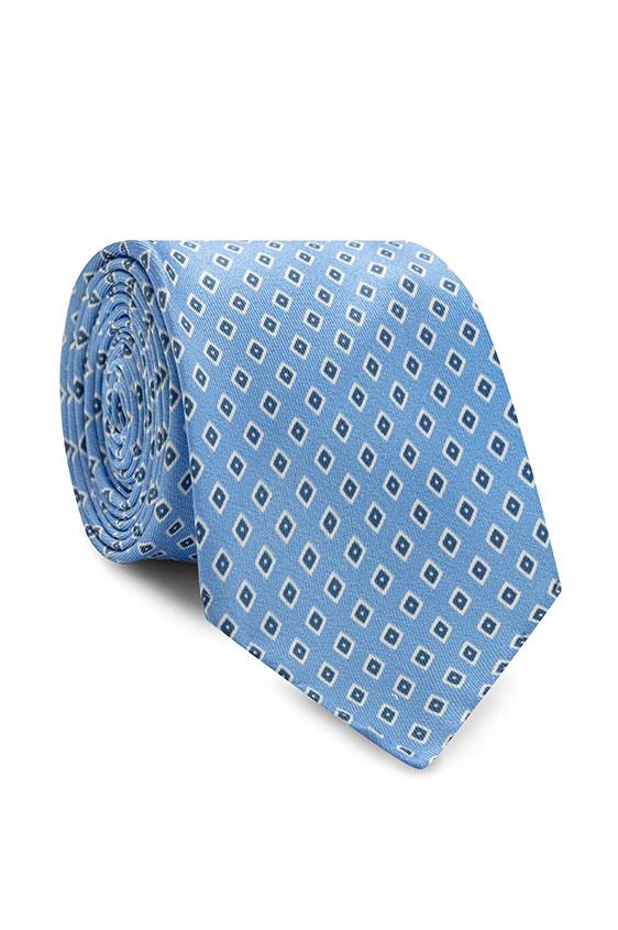 Голубой галстук в мелкий рисунок