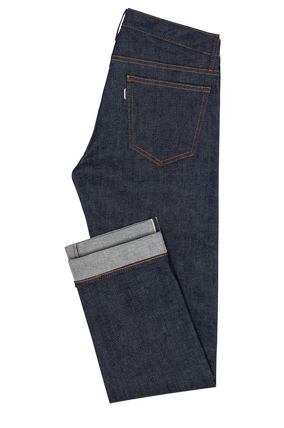 Темно-синие джинсы из сырого денима selvedge