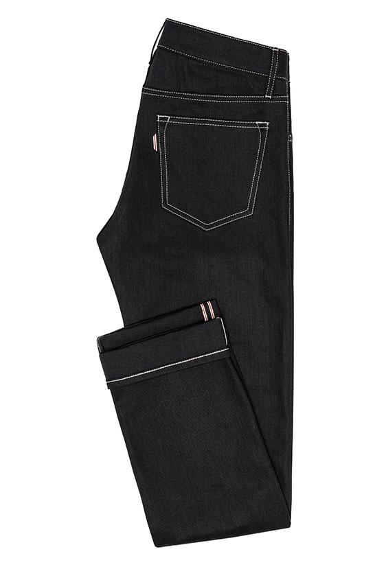 Мужские черные джинсы из сырого денима selvedge