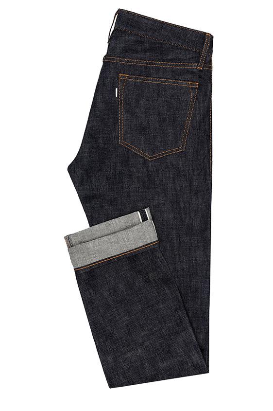 Темно-синие джинсы прямого кроя из сырого денима selvedge