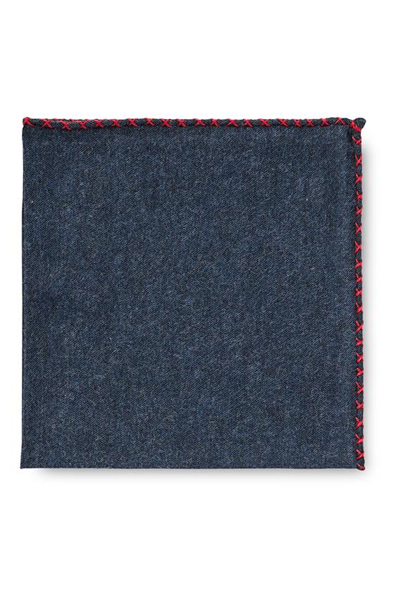 Синий нагрудный платок с красной окантовкой
