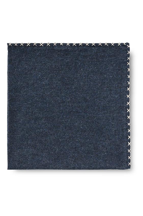 Синий нагрудный платок с бежевой окантовкой