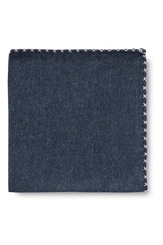 Синий нагрудный платок с розовой окантовкой