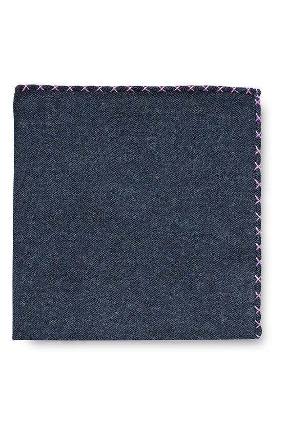 Синий нагрудный платок с фиолетовой окантовкой