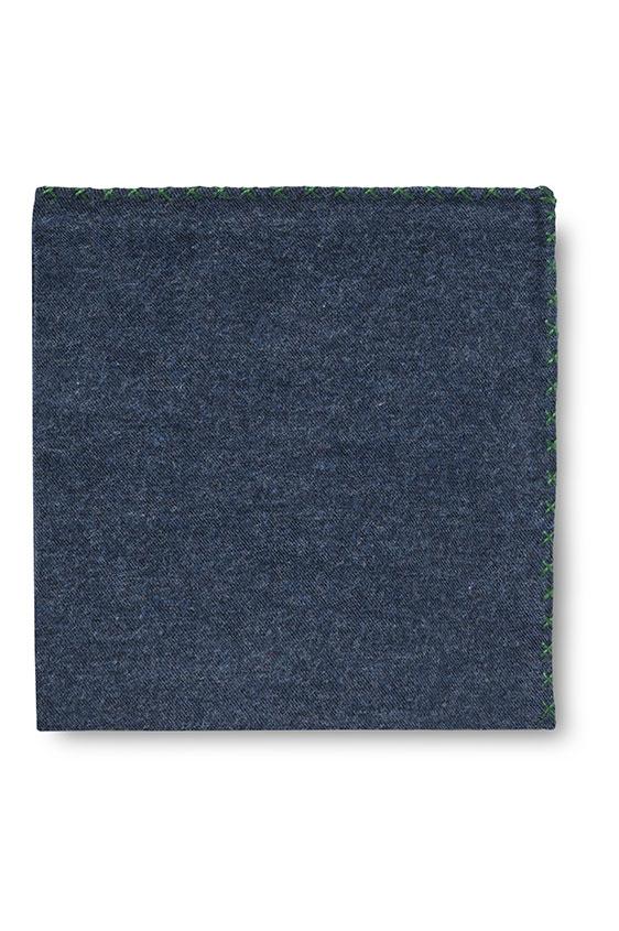 Синий нагрудный платок с зелёной окантовкой