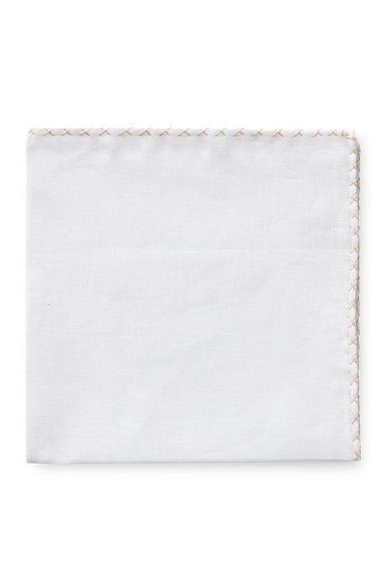 Белый нагрудный платок с бежевой окантовкой