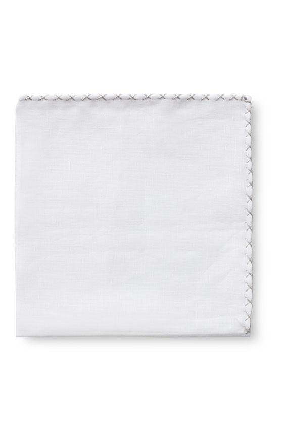 Белый нагрудный платок с серой окантовкой