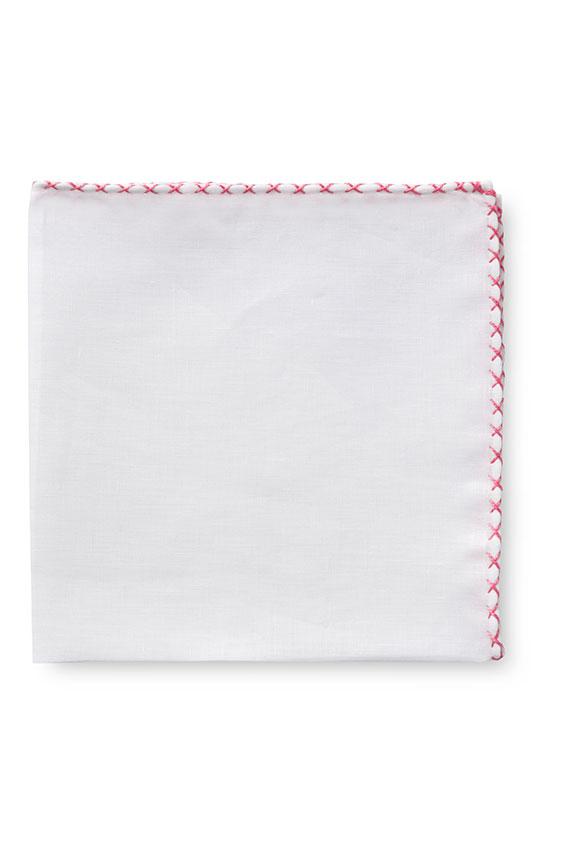 Белый нагрудный платок с розовой окантовкой