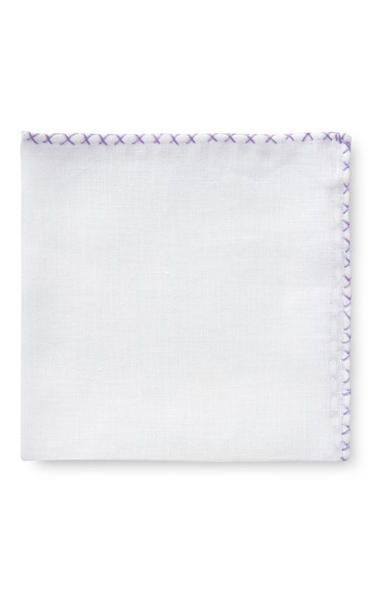 Белый нагрудный платок с фиолетовой окантовкой