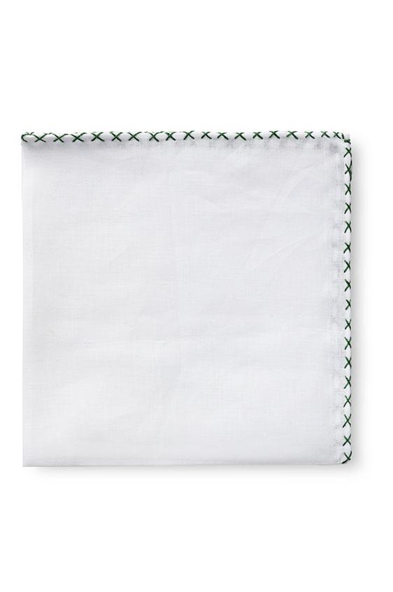 Белый нагрудный платок с зелёной окантовкой