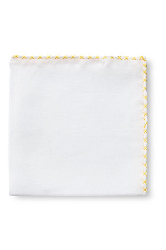 Белый нагрудный платок с жёлтой окантовкой
