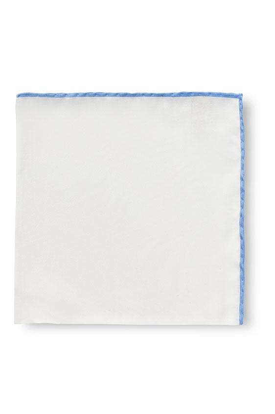 Белый нагрудный платок с голубой окантовкой