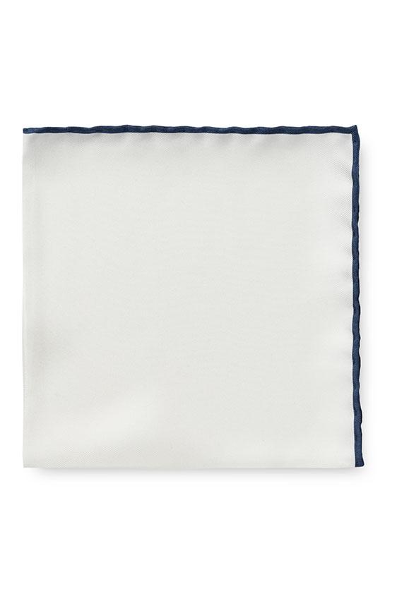 Белый нагрудный платок с синей окантовкой