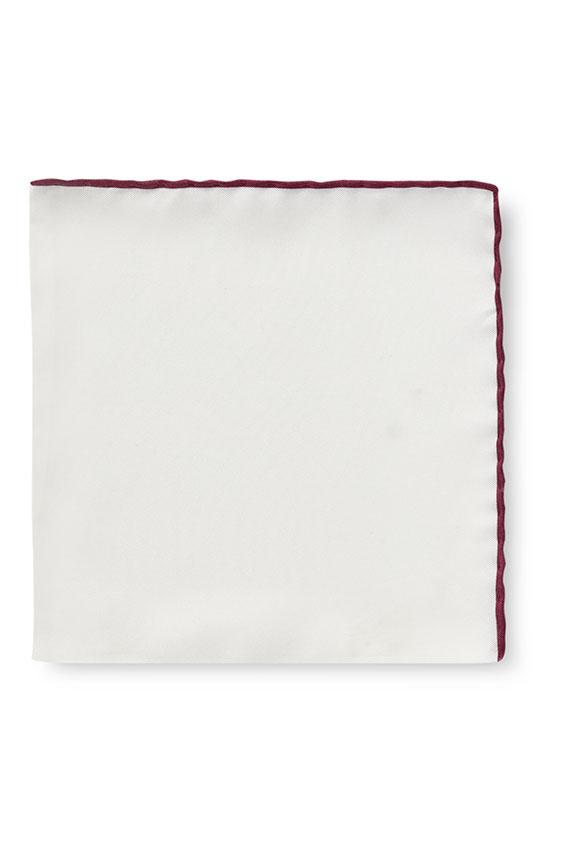 Белый нагрудный платок с бордовой окантовкой
