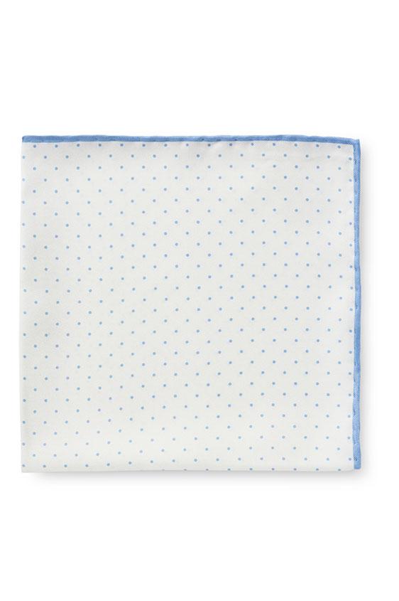 Белый нагрудный платок в мелкий горошек