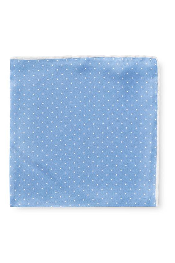Голубой нагрудный платок в мелкий горошек