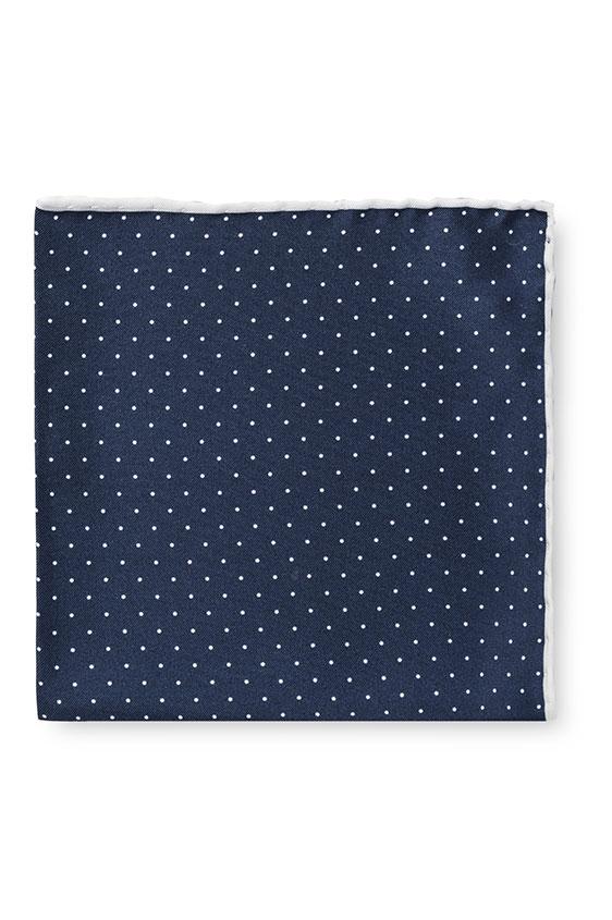 Синий нагрудный платок в мелкий горошек