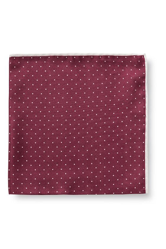 Темно-красный нагрудный платок в мелкий горошек