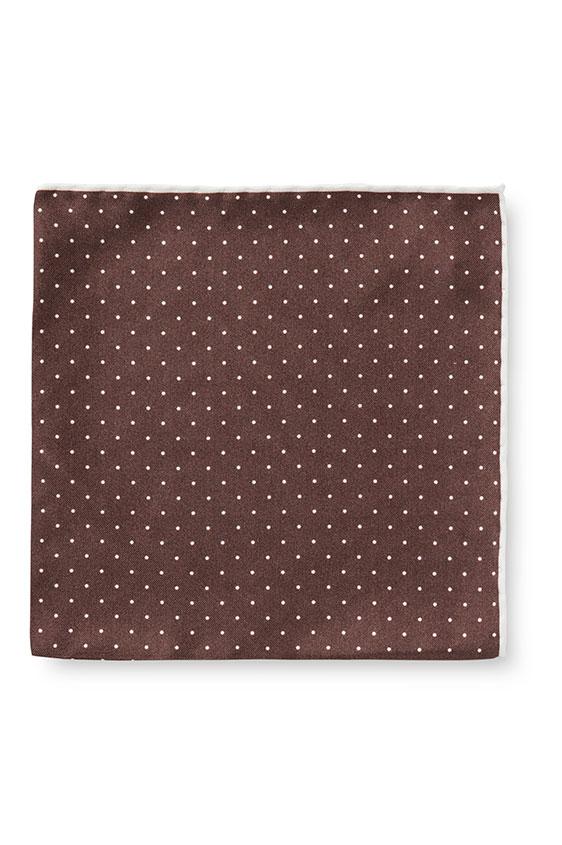 Коричневый нагрудный платок в мелкий горошек