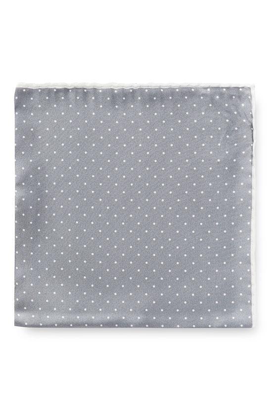 Серый нагрудный платок в мелкий горошек