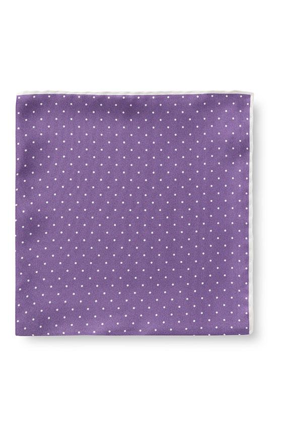 Фиолетовый нагрудный платок в мелкий горошек