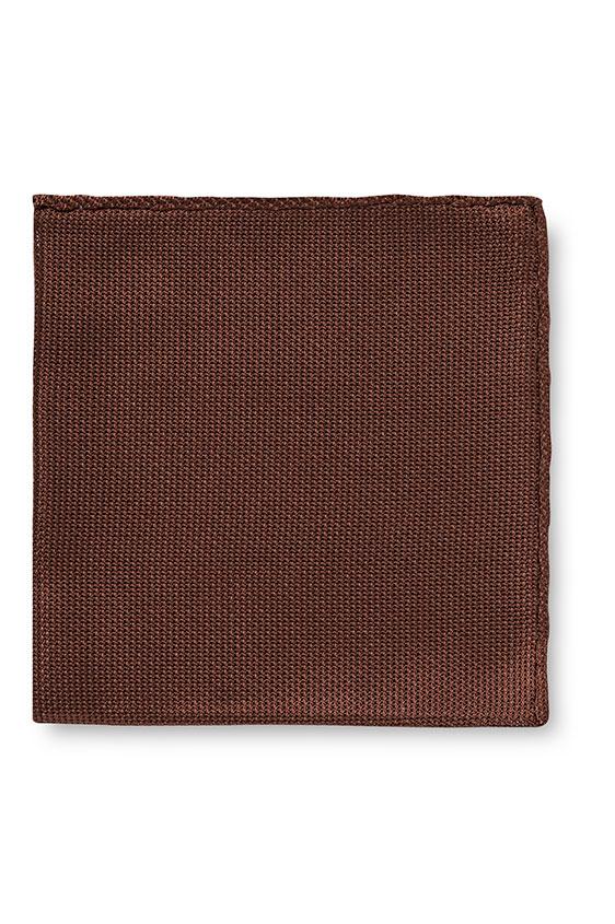 Коричневый нагрудный платок плетеной фактуры