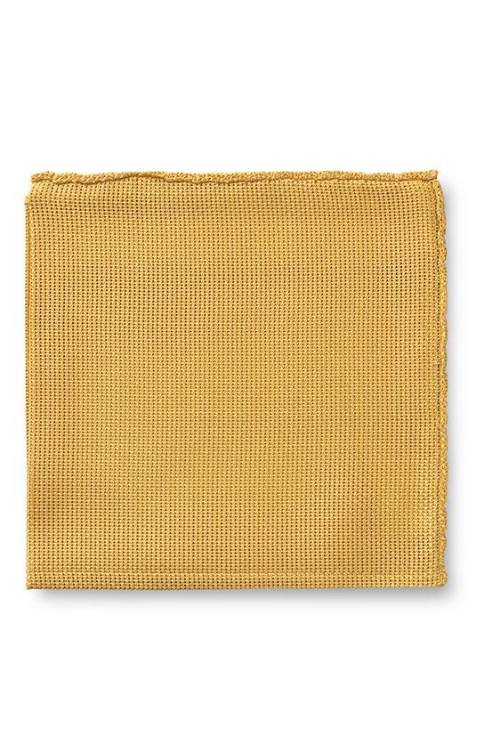 Жёлтый нагрудный платок плетеной фактуры