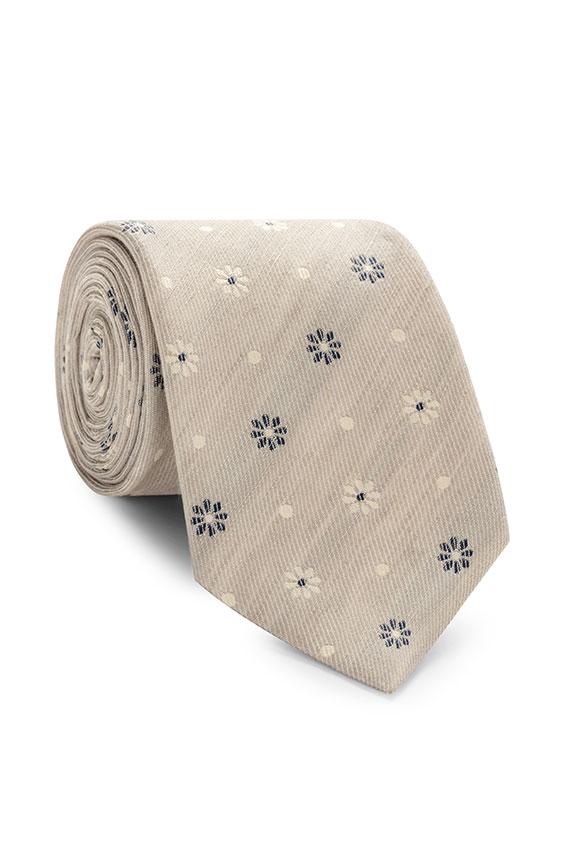 Бежевый галстук с цветочным принтом